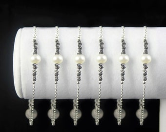 SET OF 6 - Black Rough Diamond Pearl Bracelets, Sterling Silver - Personalized Raw Diamond Jewelry - Bridesmaid Jewelry - Initial Bracelets