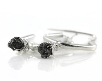 Dangle Earrings with Raw Diamonds - Sterling Silver Diamond Shape Hoops - Wire Wrapped Black Diamonds Uncut Unfinished - Hoop Earrings