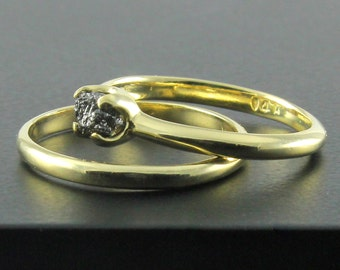 Set of Wedding Rings - 14K Yellow Gold Engagement Ring - Black Uncut Diamond Ring - Simple Design Unfinished Raw Diamond - April Birthstone