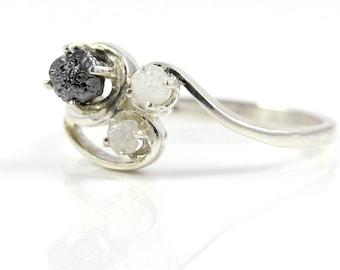 Three-Stone Ring with Rough Diamonds -  Sterling Silver or 14K Gold - Multi Stone Swirl Design Ring - Custom Color Diamonds Black White Blue
