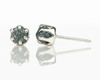 5mm Blue Raw Rough Diamond Studs - A Pair of Sterling Silver Ear Studs - Uncut Conflict Free Diamonds - April Birthstone