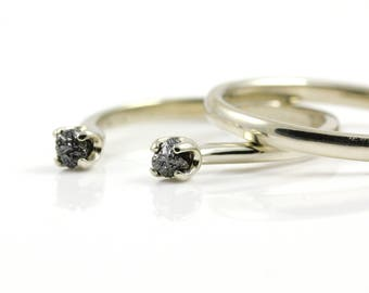 Open Design Ring Set with Rough Diamonds - 14K Gold Engagement Ring - Matching Band Comfort-Fit Design - Two Stone Ring - Black Raw Diamonds