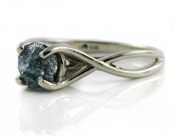Blue Raw Diamond Ring -  1.0 Carat Rough Diamond Engagement Ring Infinity Design - 14K White Gold