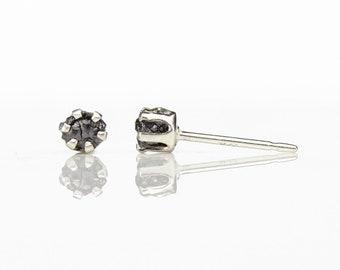 3mm Rough Diamonds in Sterling Silver - Post Earrings - Small Stud Earrings - Uncut Raw Diamonds
