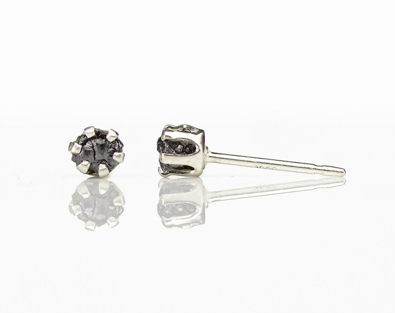 3mm Rough Diamonds in Sterling Silver  Post Earrings  Small image 0