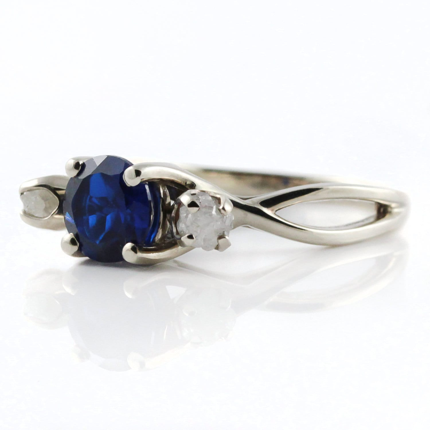 Sapphire Ring with Diamonds - 14K White Gold Engagement