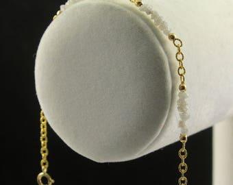 Multi-row Diamond Bracelet 14K Gold Filled - Ribbed Chain Bracelet - 4ct Conflict Free Natural Rough Diamonds - April Birthstone
