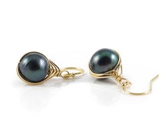 Black Pearl Earrings - Pearl Herringbone Earrings on 14K Gold Filled - Freshwater Pearls - Classic Earrings, Birthstone Gift