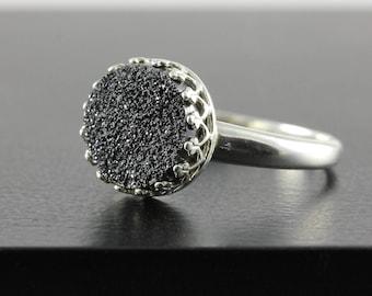10mm Black Druzy Ring Sterling Silver - Round Quartz Ring Druzzy -  Bezel Set Ring - Drusy Quartz