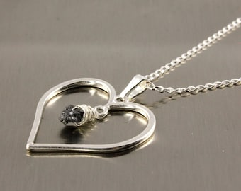 Heart Necklace - Rough Diamond -Mother's Day Gift - Sterling Silver Heart Charm - April Birthstone Gift Idea - Romantic Gift - Gift For Her