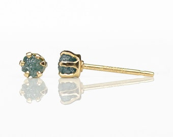 3mm Blue Raw Rough Diamond Gold Earrings - 14K Gold Filled Ear Studs - Rare Blue Uncut Diamonds Conflict Free