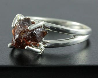Raw Garnet Ring - Rough Natural Garnet - Raw Stone Ring - January Birthstone Gift Idea - Sterling Silver