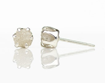 5mm Post Earrings White Rough Diamond Studs on Sterling Silver - White Uncut Raw Diamonds Conflict Free - Ear Studs - April Birthstone
