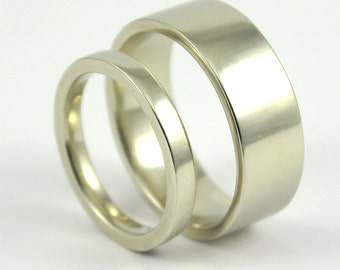 14K Gold Bands - His 8mm & Hers 3mm - Flat Design Set of Bands - White Yellow or Rose Gold Wedding Bands - Comfort Fit Bands