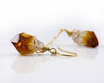 Natural Raw Citrine Earrings 14K Gold Filled or Sterling Silver - Yellow Citrine Gemstones - Wire Wrapped Rough Gemstone Jewelry
