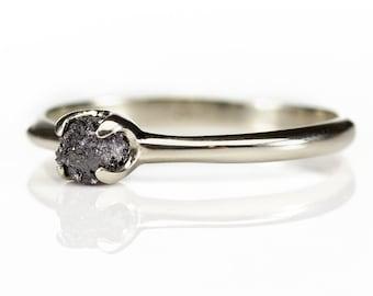 14K White Gold Simple Ring with Rough Diamond - Black Diamond Ring - Wedding Engagement Ring - Uncut Unfinished Diamond