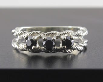 Braided Ring with 3.5mm Polished Black Diamonds - Brilliant-cut Diamonds - Mother's Ring 14K Gold or Silver - Multi-stone Birthstone