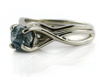 Blue Raw Diamond Ring Set - 1.0 Carat Rough Diamond Ring with Band - Infinity Design Ring and Band - 14K White Gold - Conflict Free Diamond