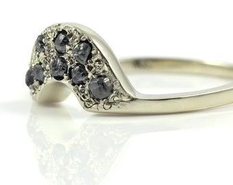 Custom Wedding Band with Black Rough Diamonds - 14K White Gold - Matching Band for Band with Rough Raw Diamonds