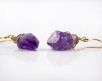 Natural Amethyst Earrings 14K Gold Filled - Purple Amethyst Gemstone - Wire Wrapped Rough Gemstone Jewelry