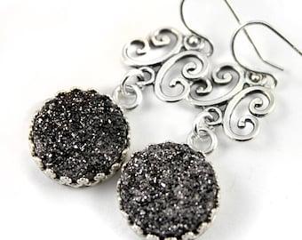 Filigree Earrings Sterling Silver - Mother's Day Gift - Druzy Earrings - Black Drusy Quartz Earrings - Bezel Set Earrings