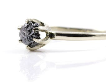 14K White Gold Solitaire Ring with Raw Diamond - Black Rough Uncut Diamond - Classic Engagement Ring - Promise Ring