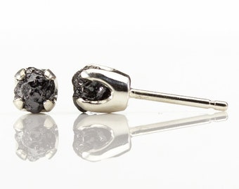 1ct Black Rough Diamond Studs on Sterling Silver - 5mm Four Prong Post Earrings - Raw Uncut Unfinished Diamonds - Natural Conflict Free