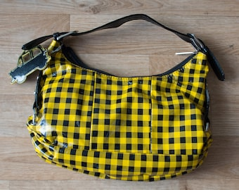 Patent leather black and yellow checkered handbag