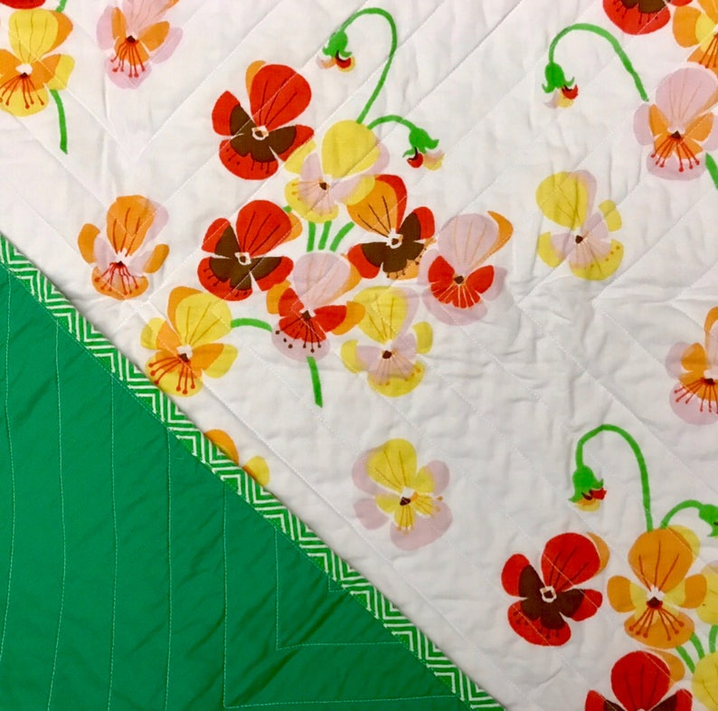 Pansy Garden Whole Cloth Baby Quilt image 0