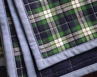 Green Plaid Whole Cloth Baby Quilt