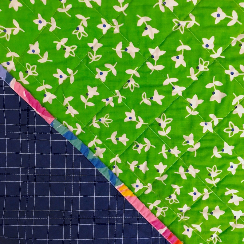 Floral Binding Whole Cloth Baby Quilt image 0