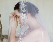 BY THE SEINE   Embroidered silk mantilla veil