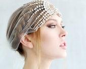 Lujon - Crystal Art Deco 1920's Tulle Headpiece