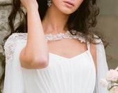 CLARE DE LUNE   Floral silk bridal cape veil