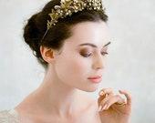 10 % off PARIS | Gilded floral & crystal bridal crown