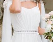 10 % off CLARE DE LUNE | Floral silk bridal cape veil