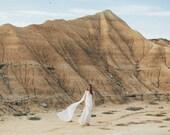 LAKSHMI | Beaded Crystal Pearl Capelet & Silk Train