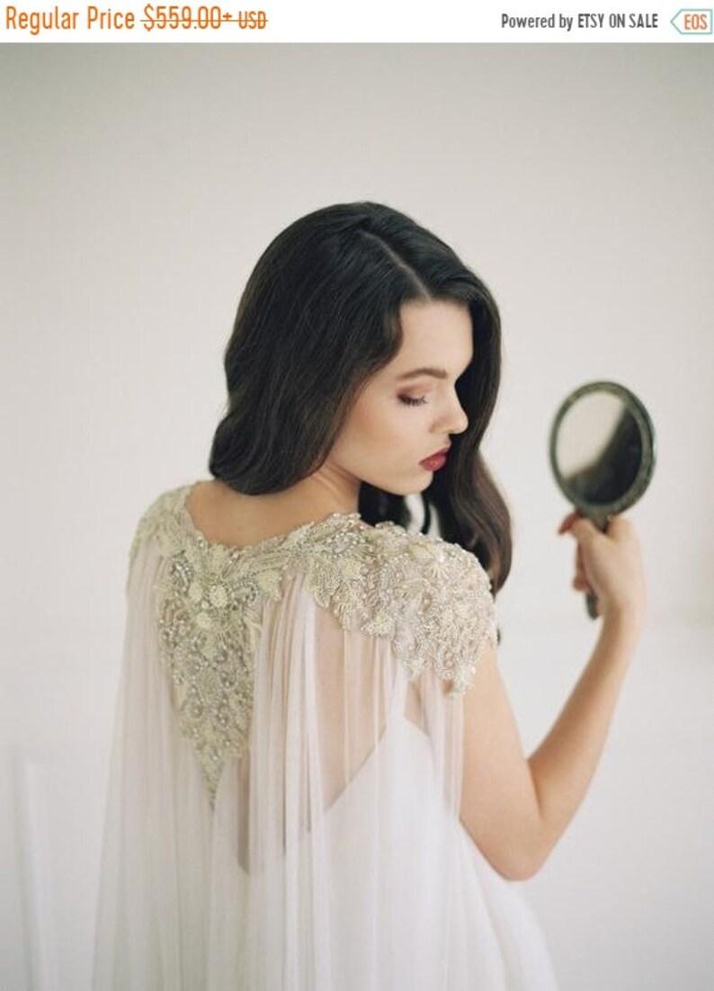 10 % off LAKSHMI  Luxury pearl & silk wedding cape veil image 0