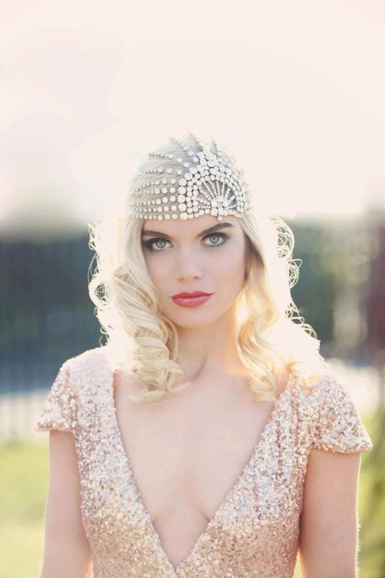 LUJON  Couture crystal tulle headpiece image 0