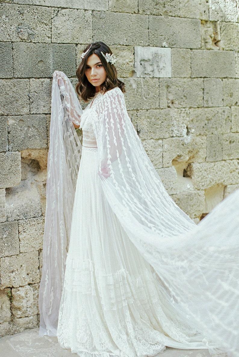 Hand Beaded Ivory Tulle Bridal Crystal Long Cape Wedding Veil Alternative Sheer Reception Church Coverup Shawl ALLEGRO