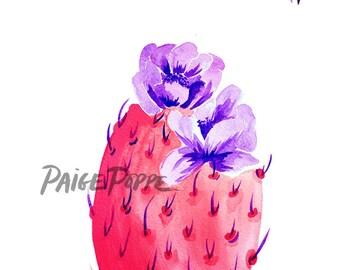 Pink cactus. Desert Art. Boho Watercolor Art. Desert Botanical art. Bohemian Art. Boho Art.Succulent Art. Arizona Desert.Purple and pink art