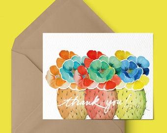 Cactus Watercolor.Watercolor Greeting Card.Saguaro Art.Arizona art.Watercolor Stationery.Bohemian watercolor.boho art.Arizona desert