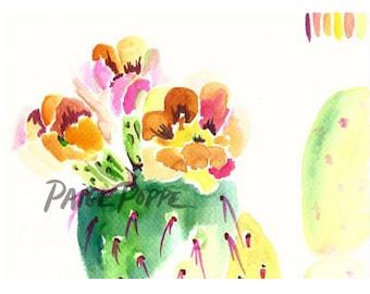 Rainbow Cactus.Cactus Art.Cacti Art.Watercolor cactus.Cactus Watercolor.Flower Watercolor.Prickly Pear.Desert Art.Southwest Art.Arizona Art