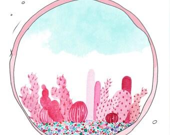 Pink Cactus.Cactus Watercolor.Watercolor Cactus.Cute Cactus.Arizona Art.Southwestern Art. Arizona Desert Art. Arizona sunset.Summer art