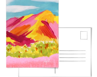 Mountain Postcard.Desert Postcard.Desert Landscape Postcard.Meadow art.Arizona Postcard.Watercolor postcard.Bohemian watercolor.AZ desert