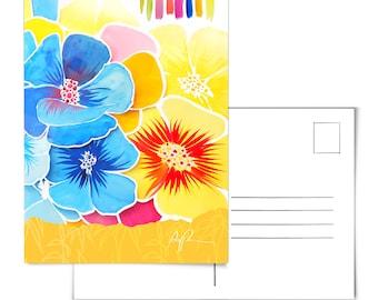 Floral Postcard.Flower Postcard.Bloom Postcard.Plants Postcard.Floral Art.Flower Art.Bloom Art.Watercolor Postcard.Floral Collage.Flowers