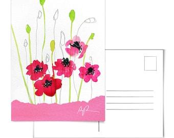 Poppy Watercolor.Poppy Artwork.Poppy Postcard.Floral Postcard.Nature Postcard.Plants Postcard.Flower Art.Watercolor postcard.Poppy Flowers