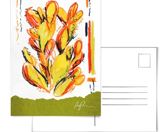 Cactus Postcard.Cacti Postcard.Prickly Pear Art.Desert Postcard.Plants Postcard.Saguaro Artwork.Arizona Postcard.cactus art.prickly pear art
