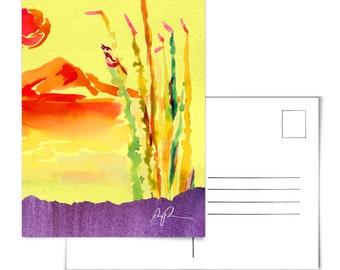 Ocotillo Postcard.Cactus Postcard.Cacti Postcard.Desert Postcard.Plants Postcard.Arizona Postcard.Cactus Wren Art.Cactus Wren Painting.Az