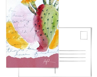 Cactus Postcard.Cacti Postcard.Prickly Pear Art.Desert Postcard.Plants Postcard.Cactus Artwork.Arizona Postcard.cactus art.prickly pear art